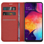 Leather Wallet Case & Card Holder Pouch for Samsung Galaxy A50 - Red